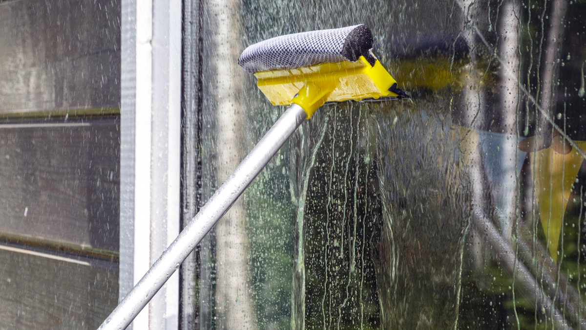 Window Cleaning with telescopic pole